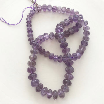 Amethyst Carved Rondelle Bead Strand (AME_042)