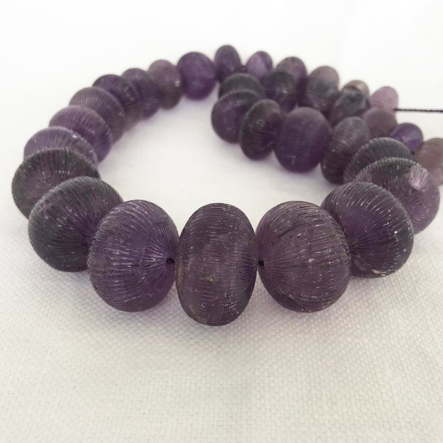 Amethyst Carved Rondelle Graduated Bead Strand (AME_055)