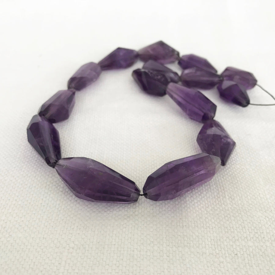 Amethyst Faceted Nugget Bead Strand (AME_057)