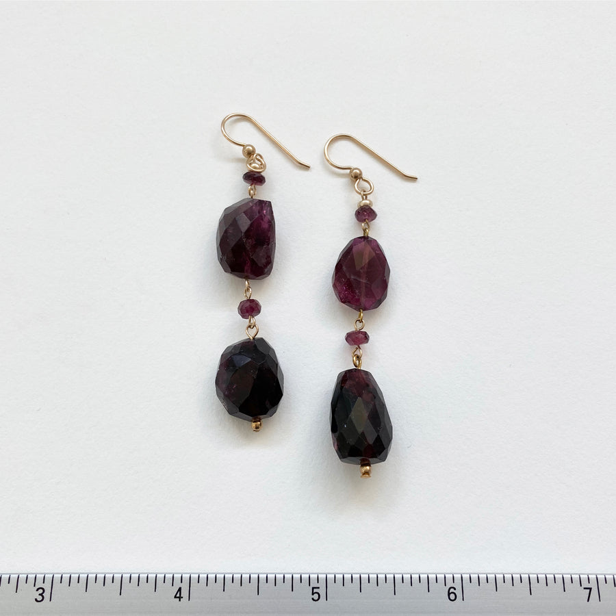 Amethyst Nugget Drop Earrings (AME_089j)