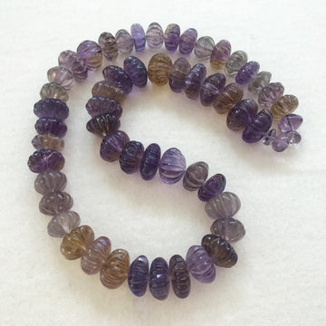 Ametrine Carved Rondelle Bead Strand (AMT_004)