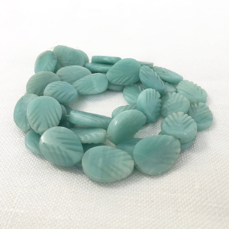 Amazonite Carved Leaf Bead Strand (AMZ_002)