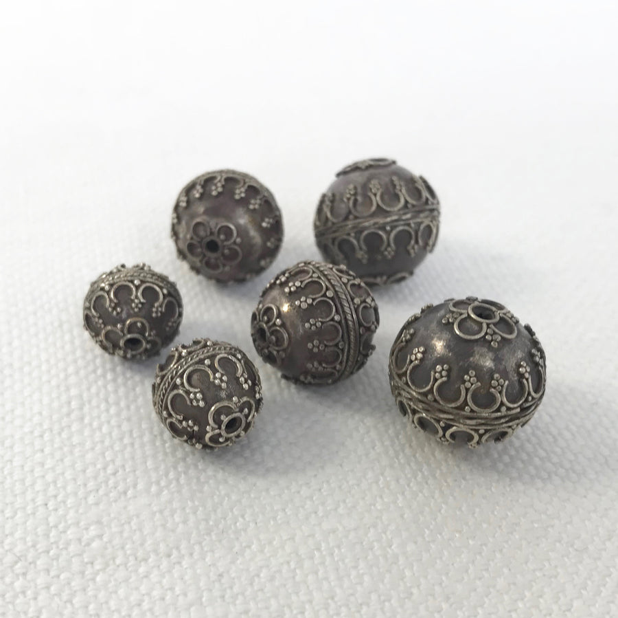 Antique Bali/India Silver Granulated Round Bead (BAS-G015)
