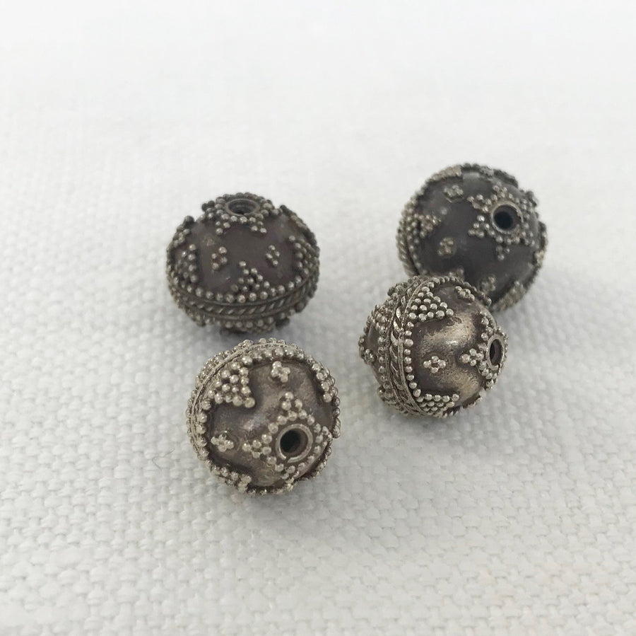 Bali/India Silver Granulated Round Bead (BAS_020)