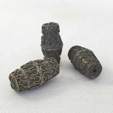 Bali/India Silver Granulated Barrel Bead (BAS_027)