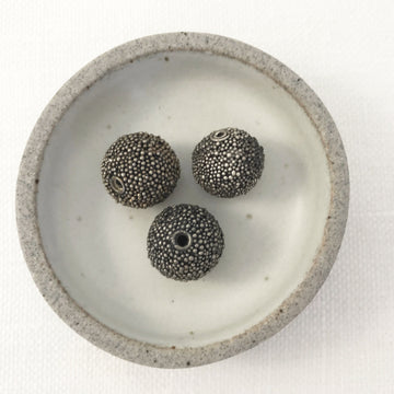 Bali/India Silver Granulated Round Bead (BAS_053)