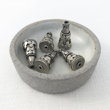 Bali/India Silver Embellished Cone Bead (BAS_062)