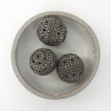 Bali/India Silver Filigree Round Bead (BAS_071)