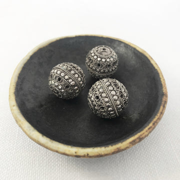 Bali/India Silver Filigree Round Bead (BAS_074)