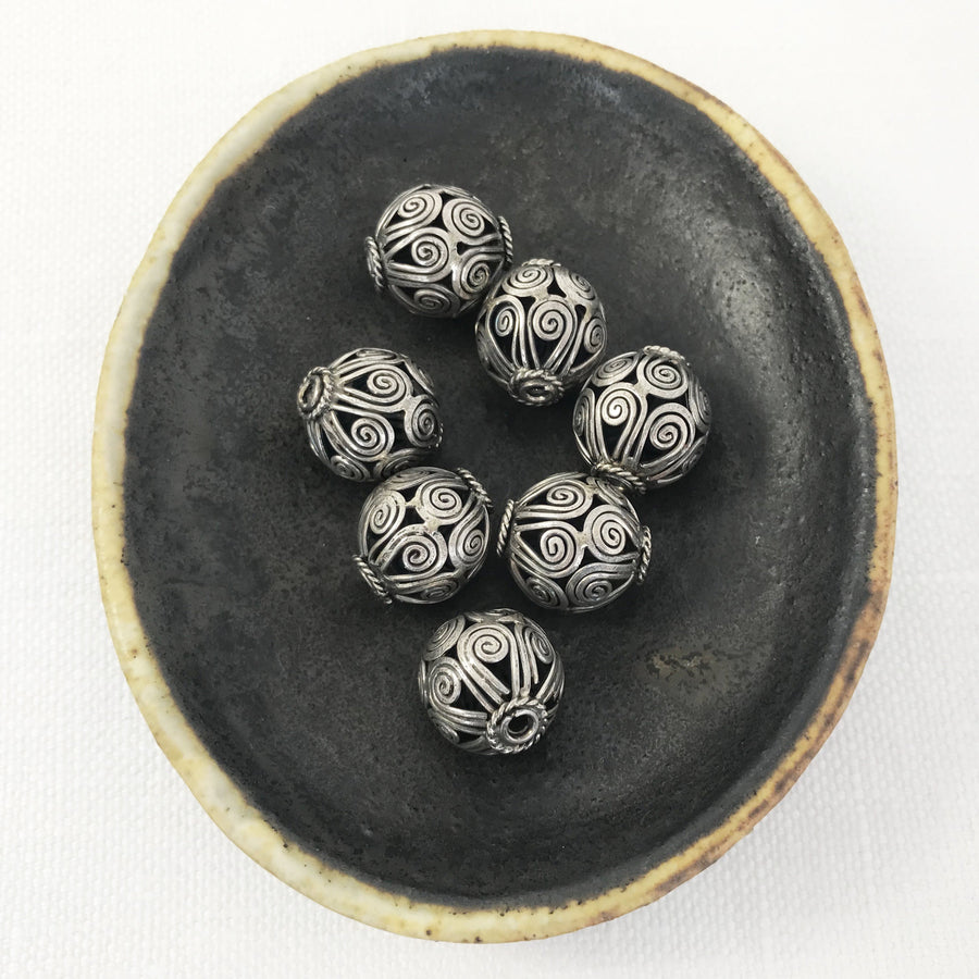 Bali/India Silver Open filigree Round Bead (BAS_079)
