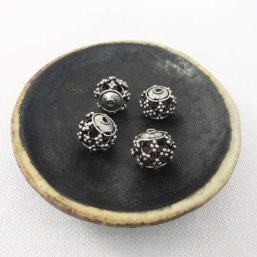 Bali/India Silver Open filigree Round Bead (BAS_083)
