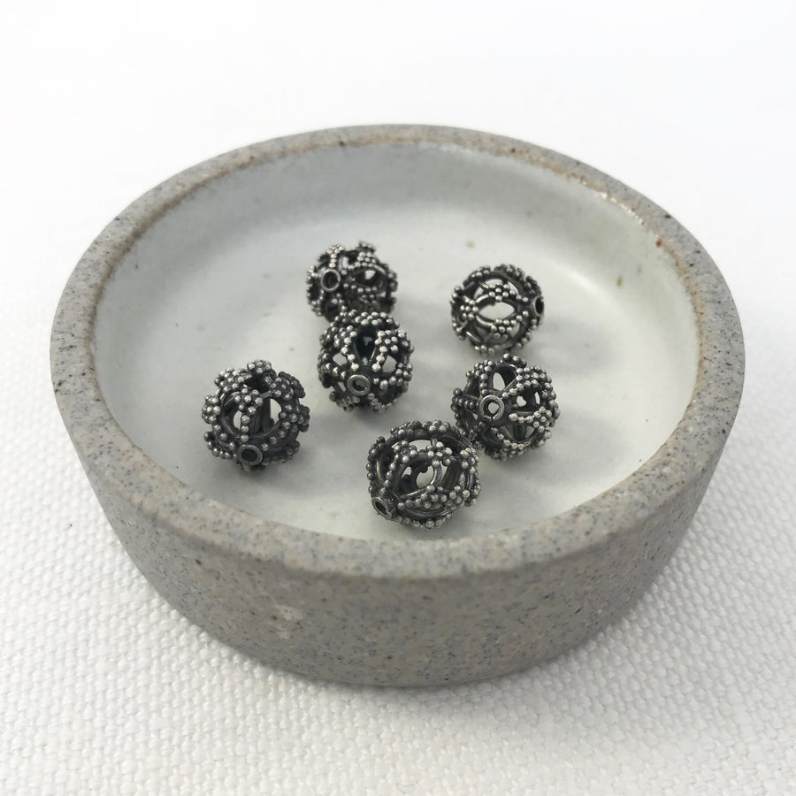 Bali/India Silver Open filigree Round Bead (BAS_087)