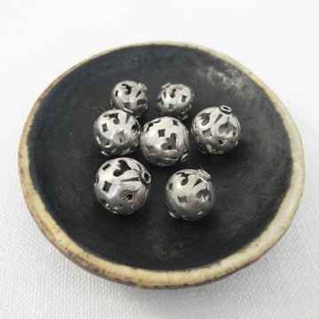 Bali/India Silver Open lattice Round Bead (BAS-G093)