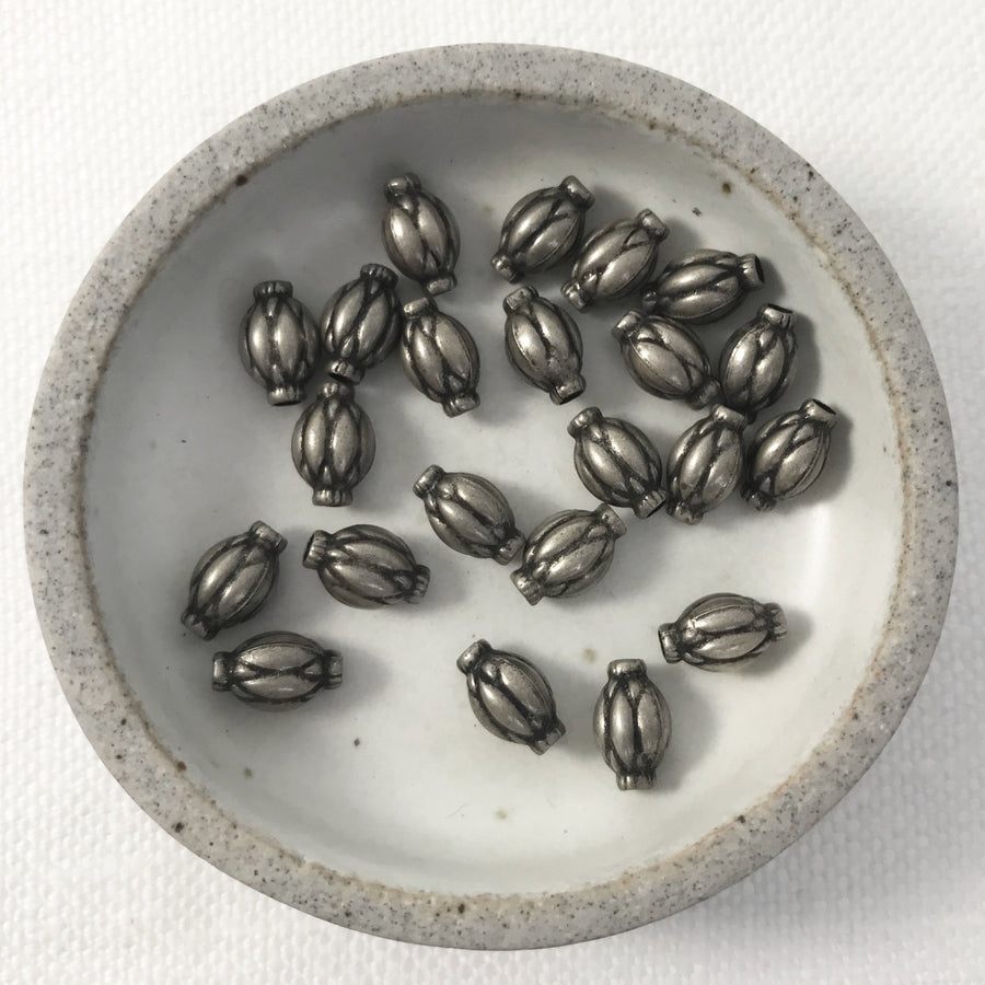 Bali/India Silver Stamped Oval Bead (BAS_121)