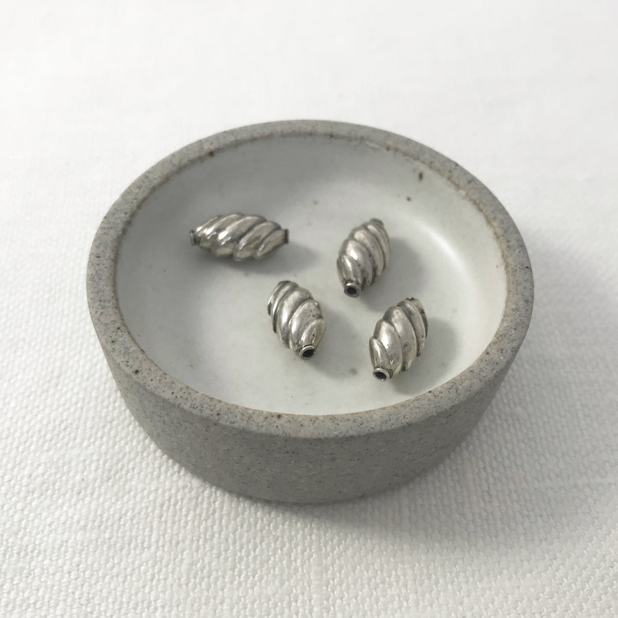 Bali/India Silver Stamped Flat oval Bead (BAS_122)