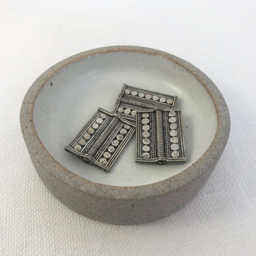 Bali/India Silver Stamped Rectangle Bead (BAS_194)