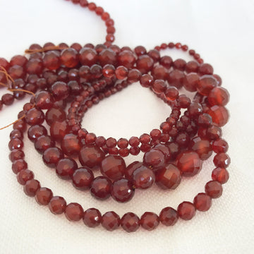Carnelian Faceted Round Bead Strand (CAR-G011)