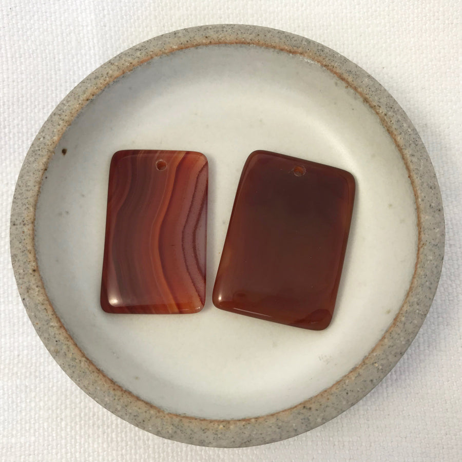 Carnelian Flat, Smooth Rectangular Pendant (CAR-G047)