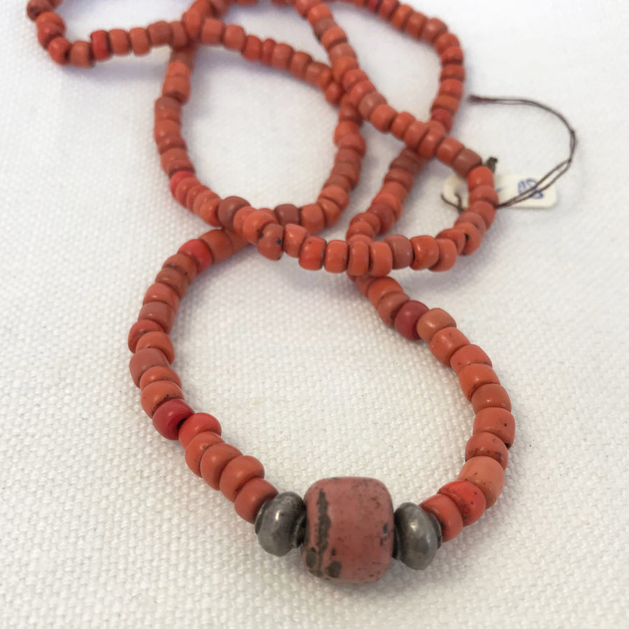 Antique Coral Heishi Necklace (COR_008j)