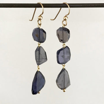 Iolite Faceted Nugget 14K Findings Earring (IOL_011j)