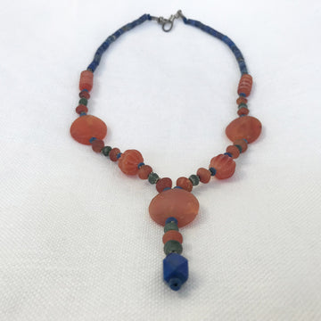 Lapis, carnelian, serpentine Smooth, faceted Heishi, bicone With Various Carved Carnelian Beads, Silver Spacer Beads, Silver Clasp Necklace (LAP_033j)