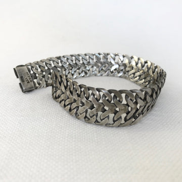 Mexican silver  With Safety Chain Bracelet (MEX_004j)