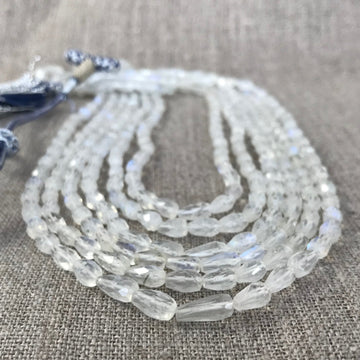 Moonstone Faceted Tear Irridescent, 6-Strand, Adjustable Cord Bead Strand (MOO_021)