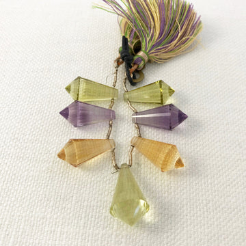 Amethyst, citrine, peridot Faceted Tear Bead Strand (MUL_021)