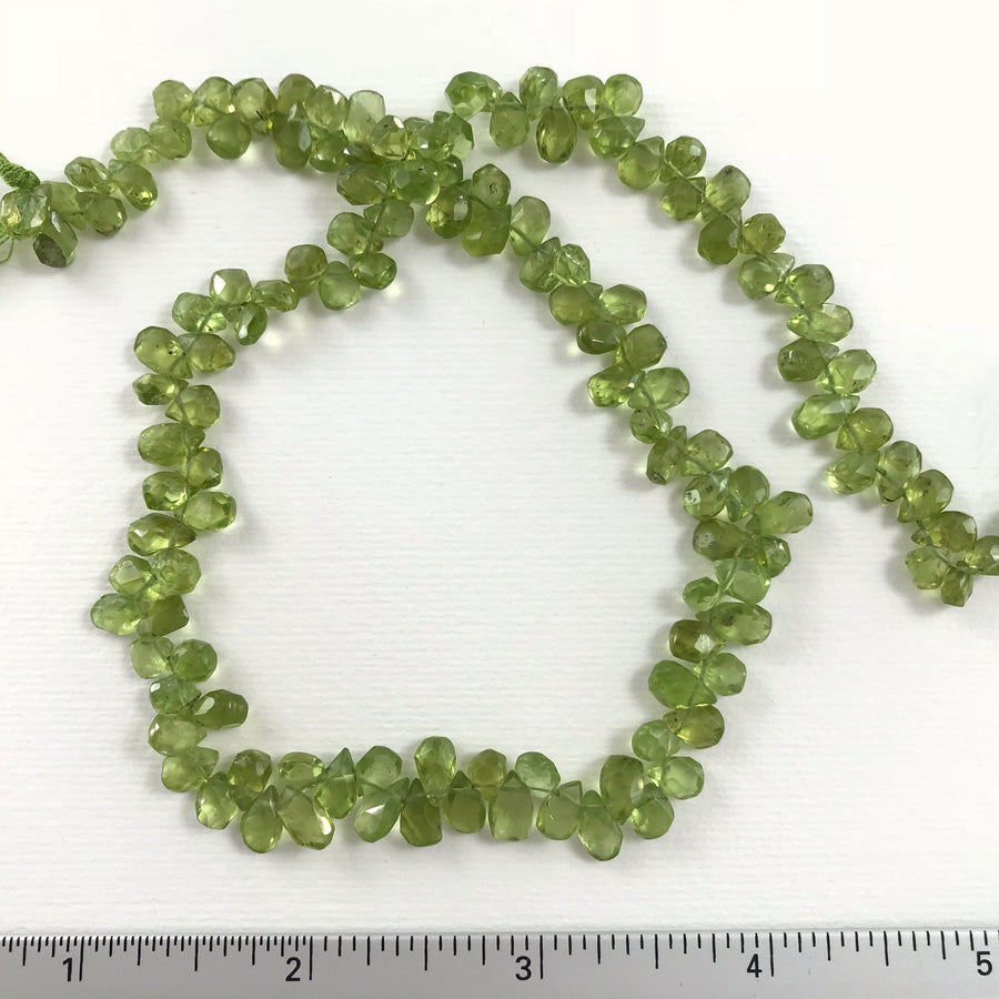 Peridot Faceted Briolette Bead Strand (PER_015)