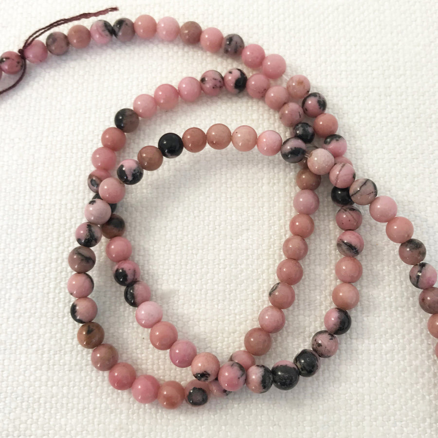 Rhodonite Round With Clasp Bead Strand (RHD_003)