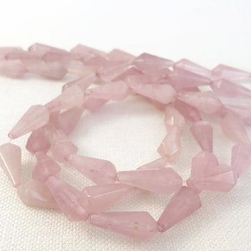 Rose Quartz Faceted Tear Bead Strand (ROQ_003)
