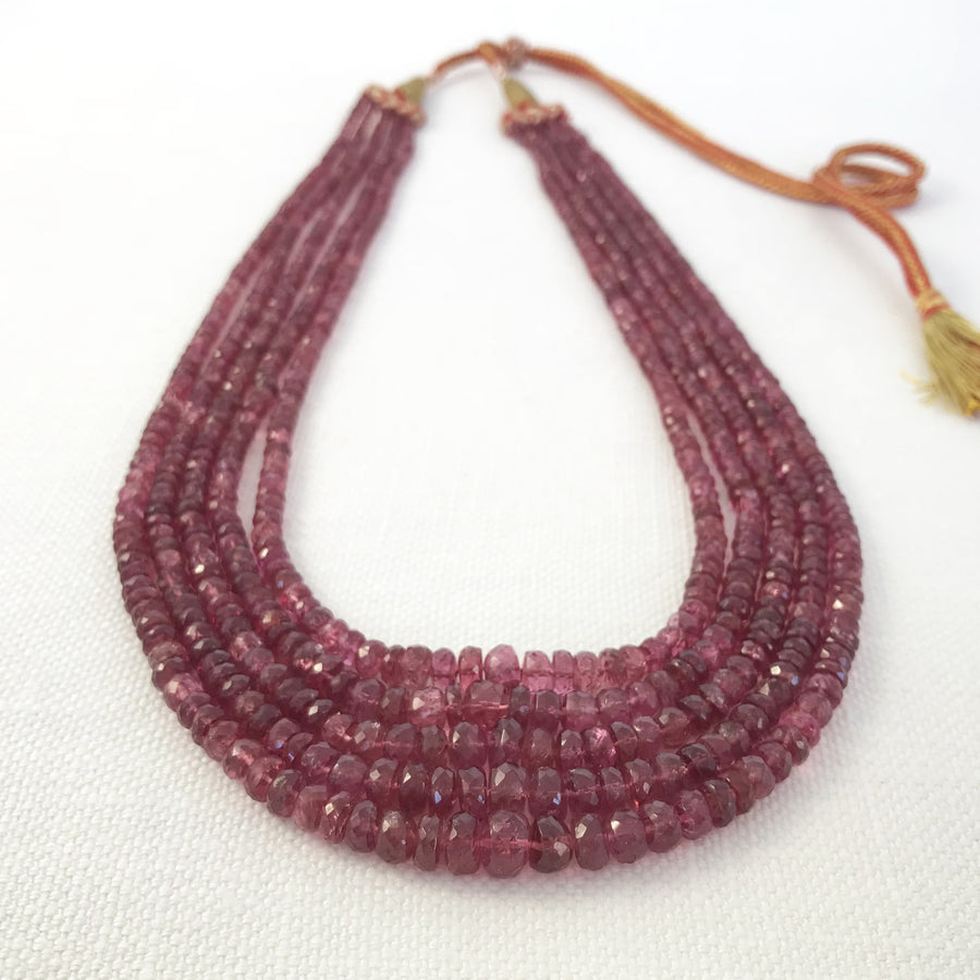 Ruby Faceted Rondelle 5-Strand Graduated Strung On 39