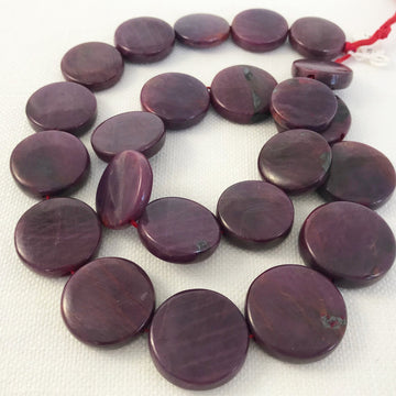 Ruby Coin Graduated Bead Strand (RUB_008)