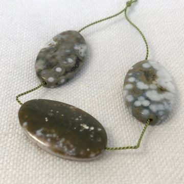 Sea Foam Jasper Flat oval Bead (SFJ_001)