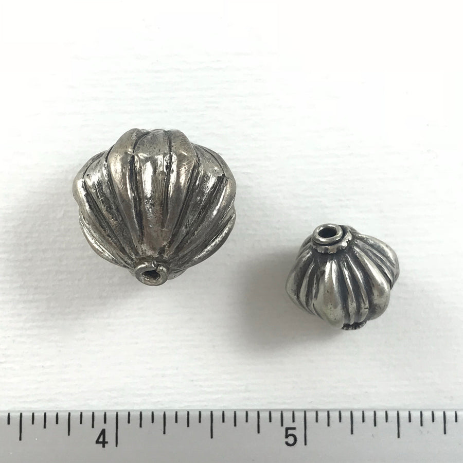 Silver Fluted Bicone Bead (SLS-G028)