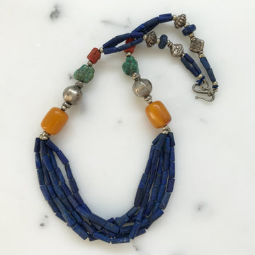 Antique Tibetan Lapis, Coral, Turquoise, Mila Amber, Silver Necklace (TBT_002j)
