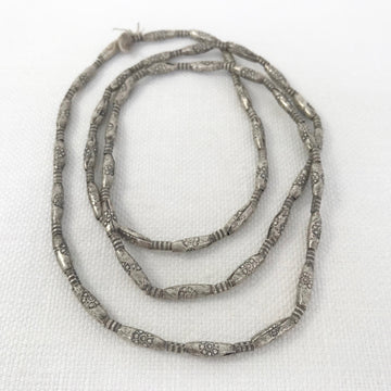 Thai Silver Stamped Oval Mixed Sizes Bead Strand (THS_011)