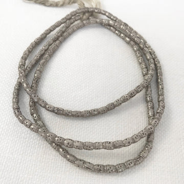 Thai Silver Stamped Barrel Bead (THS_014)