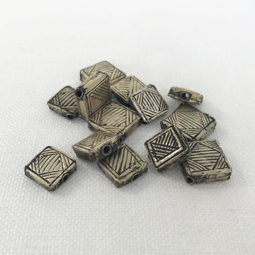 Thai Silver Stamped Square Bead (THS-G036)
