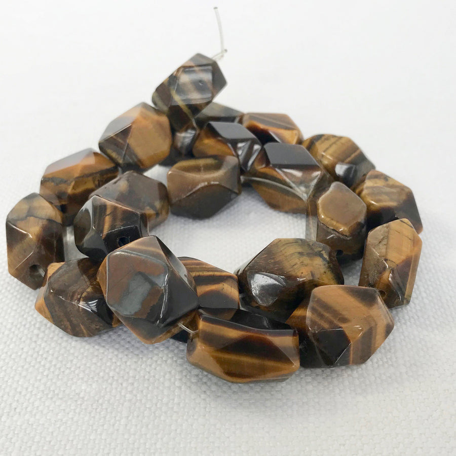 Tiger eye Faceted Barrel Bead Strand (TIG_004)
