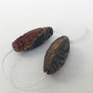 Tiger eye Carved Oval Matching Pair Bead (TIG_014)