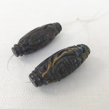 Tiger eye Carved Oval Matching Pair Bead (TIG_016)