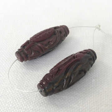 Tiger eye Carved Oval Matching Pair Bead (TIG_017)