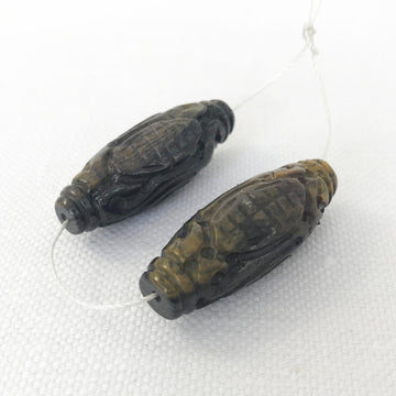 Tiger eye Carved Oval Matching Pair Bead (TIG_018)