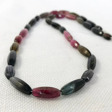 Tourmeline Faceted Oval Bead Strand (TOU_009)