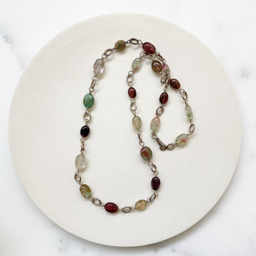 Watermelon Tourmaline and Sterling Silver Necklace (VIN_003j)