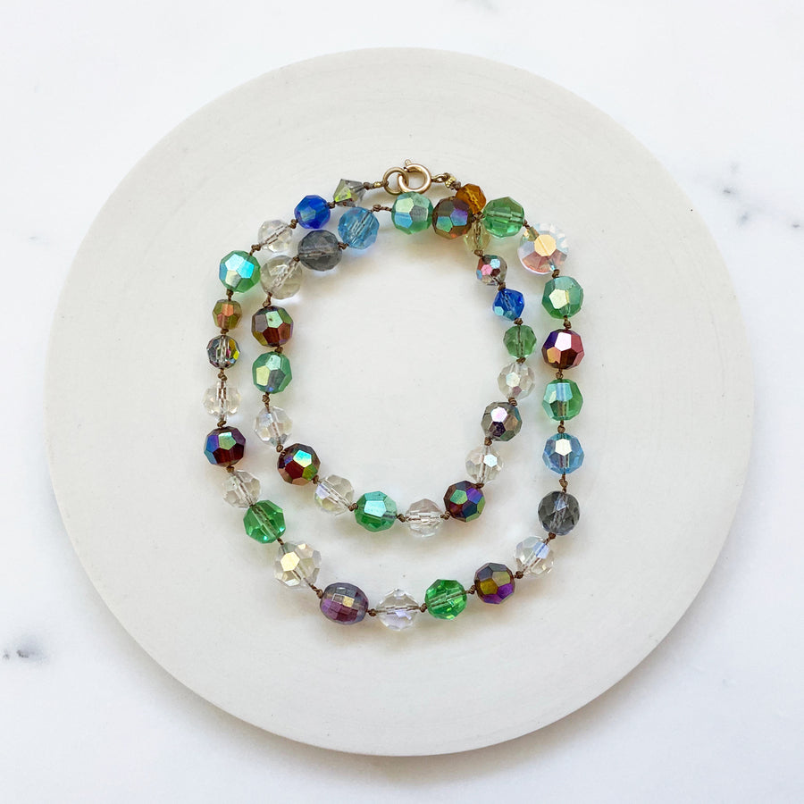 Multi-colored Faceted Glass Necklace (VIN_026j)