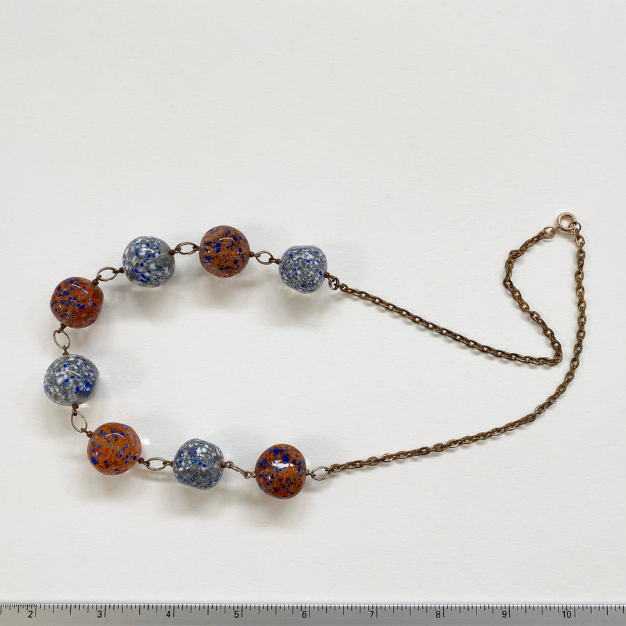 Softly Faceted Large Round Beads On Gold Tone Chain (VIN_030j)
