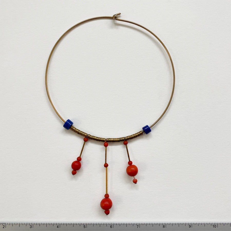 Glass and Metal Beads and Dangles on Goldtone Choker (VIN_035j)