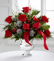 Red Vase Christmas Arrangement